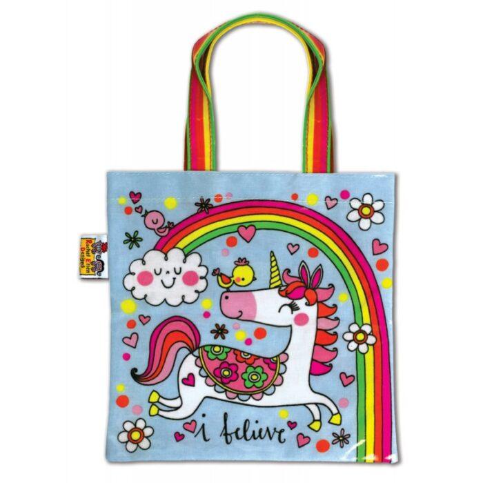 Unicorn and Rainbow Mini Tote Bag